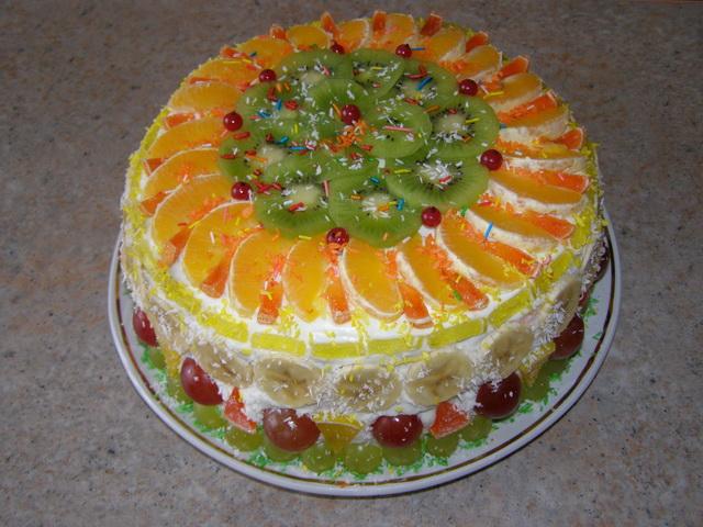 как красиво украсить фруктовый торт фото