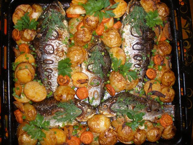 Рецепты рыба запеченная с овощами в духовке пошагово